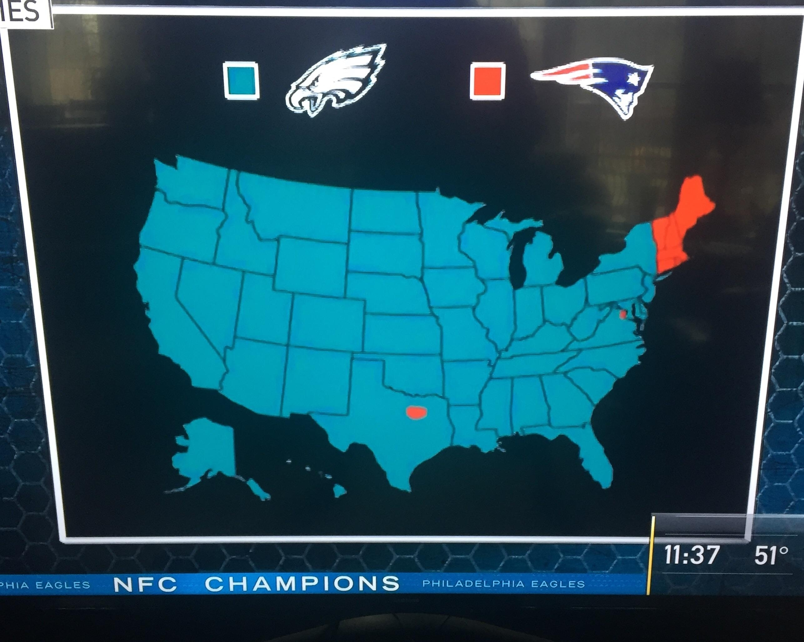 """Who Are You Rooting For In Super Bowl 52?"""" : Eagles pertaining to Super Bowl Cheering Map"""