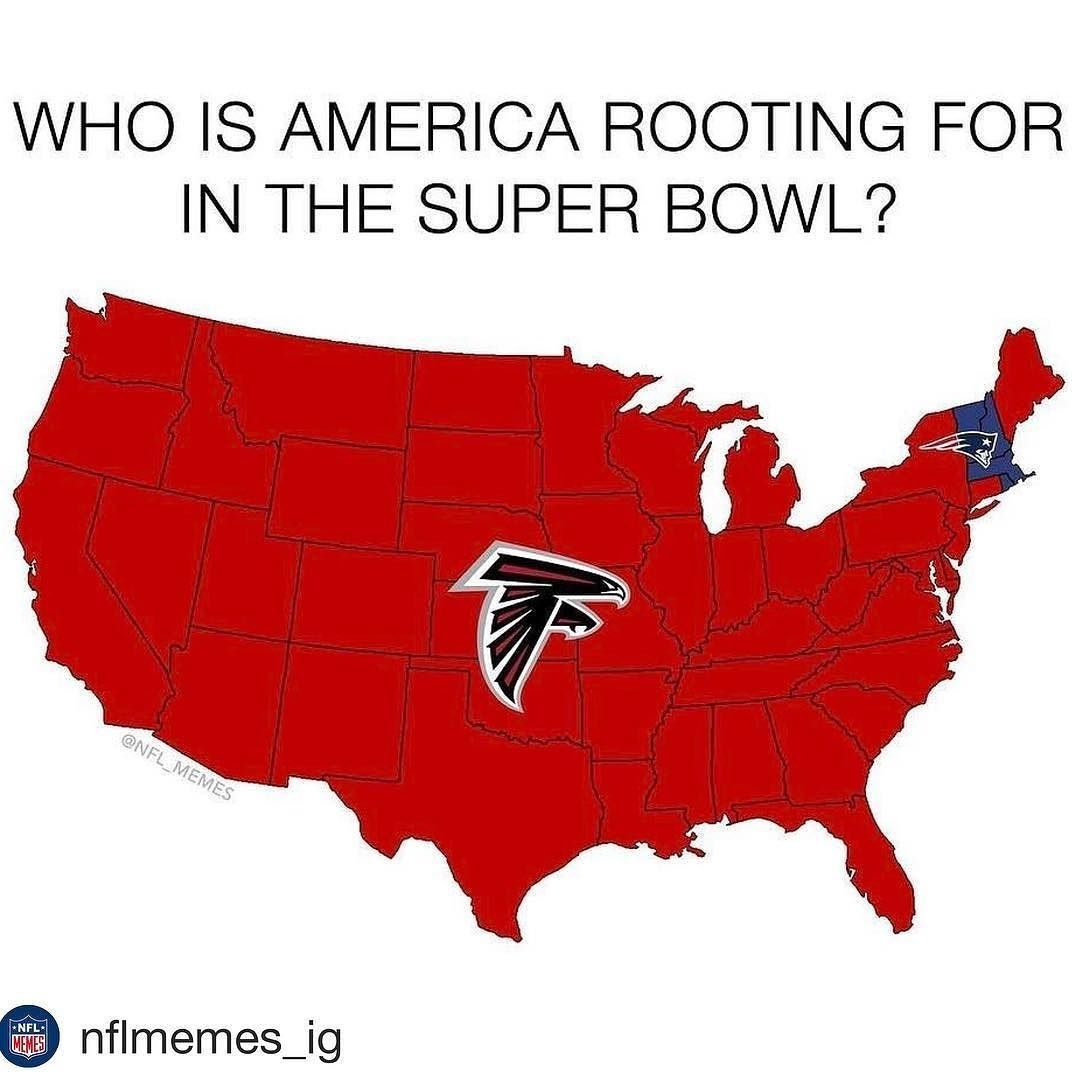 Who Is America Rooting For In The Super Bowl? #repost with regard to Super Bowl Map Meme 2019