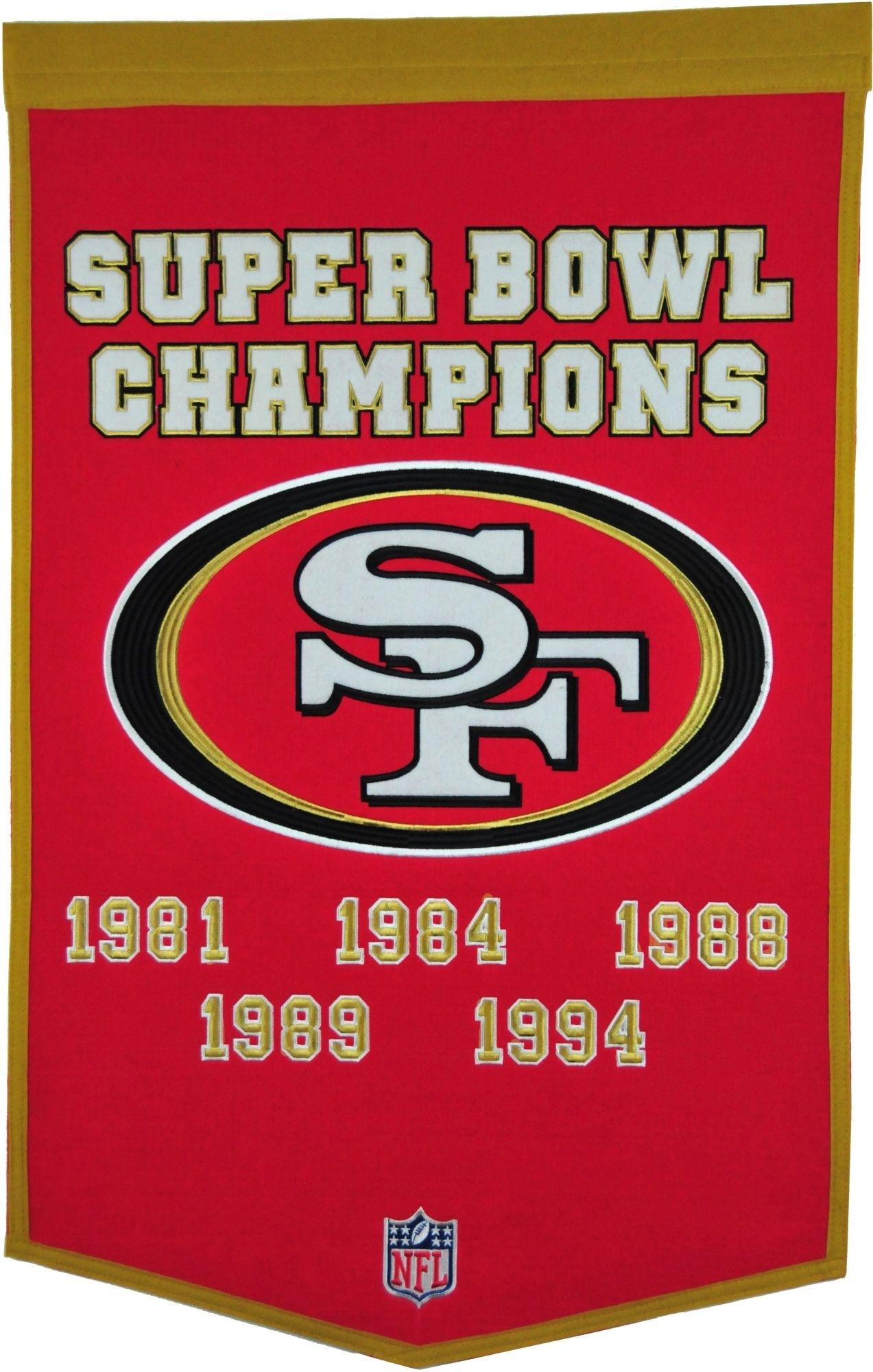 Winning Streak Sports San Francisco Dynasty Banner, Team throughout San Francisco 49Ers Nfl Championships 1989