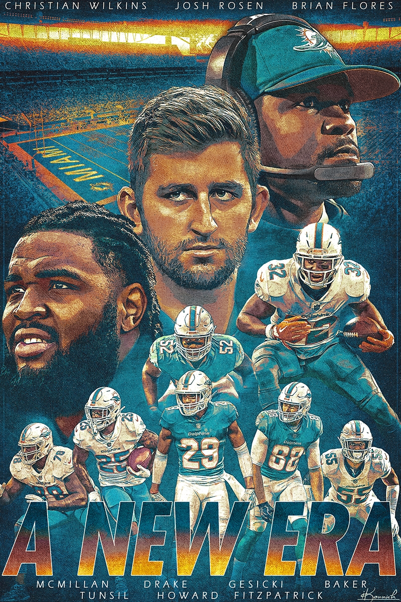 2019 Miami Dolphins Poster On Behance regarding Super Bowl 2019 Miami Dolphins