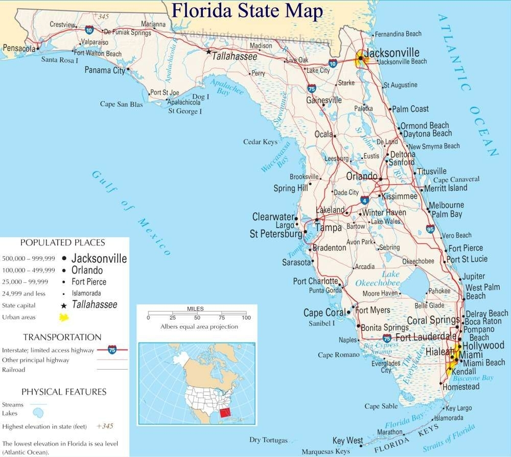 A Large Detailed Map Of Florida State | Florida State Map within West Palm Beach Miami Mapa