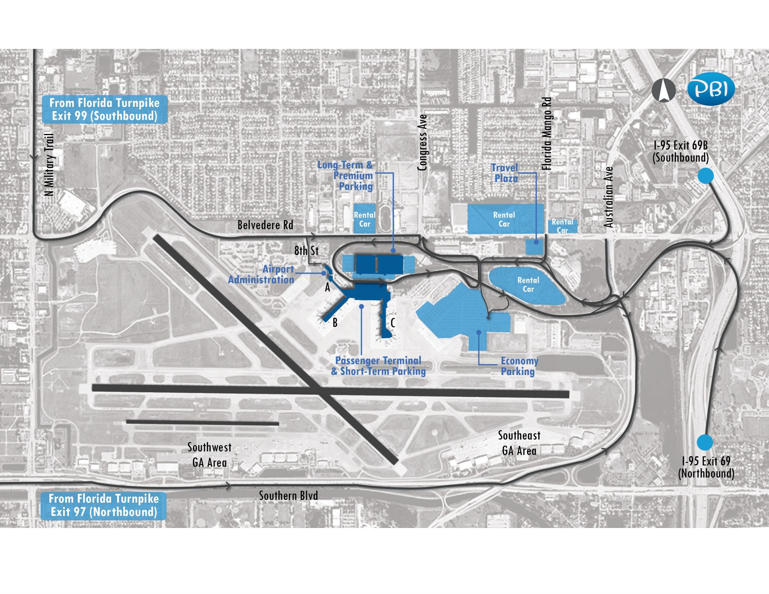 Airport Parking | Palm Beach International Airport pertaining to Miami South Beach Public Parking Map