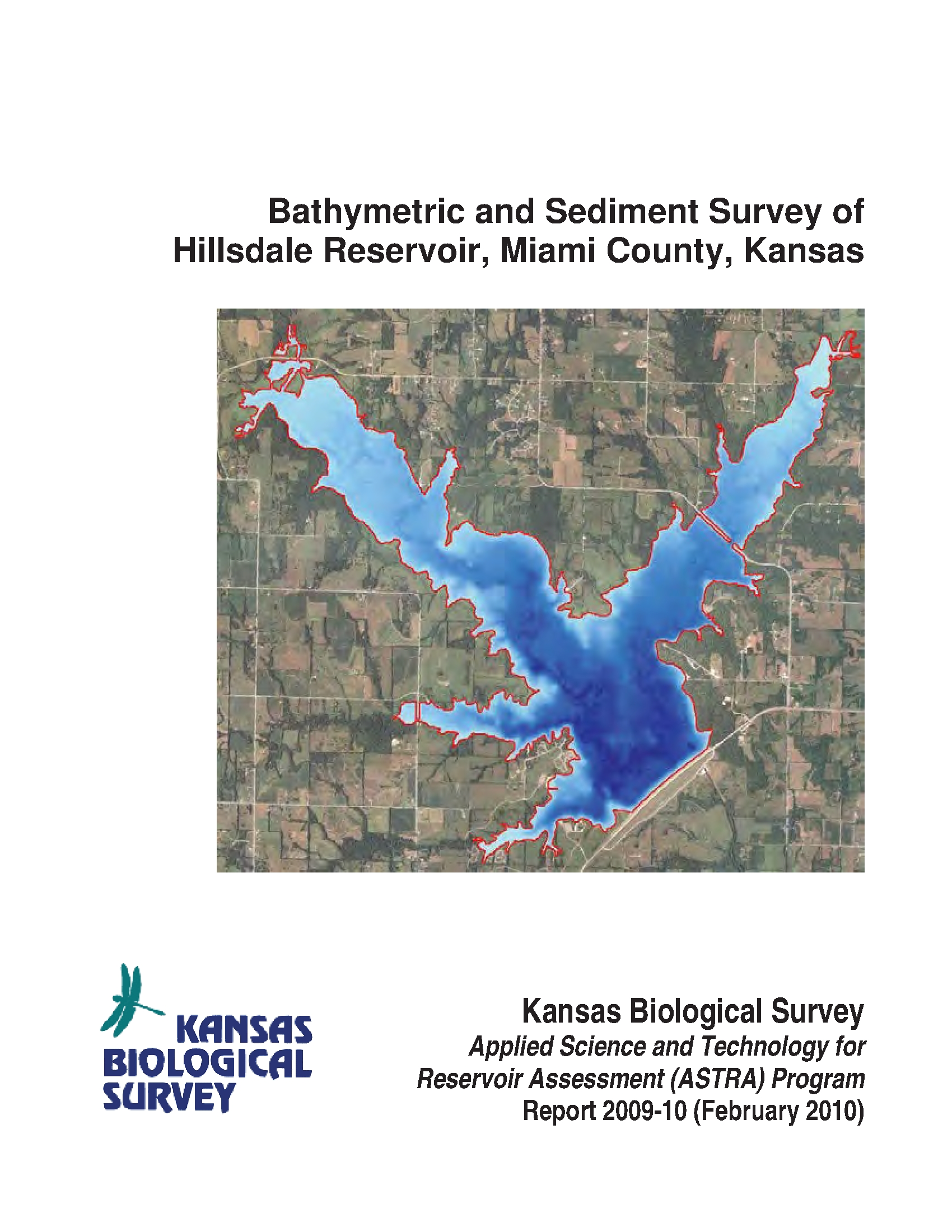 Bathymetric And Sediment Survey Of Hillsdale Reservoir in Miami County Kansas Map