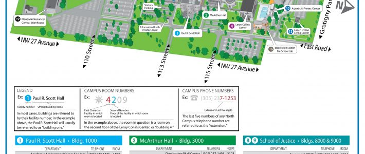 Campus Map & Directions - North Campus | Miami Dade College intended for Miami Dade College Kendall Campus Map