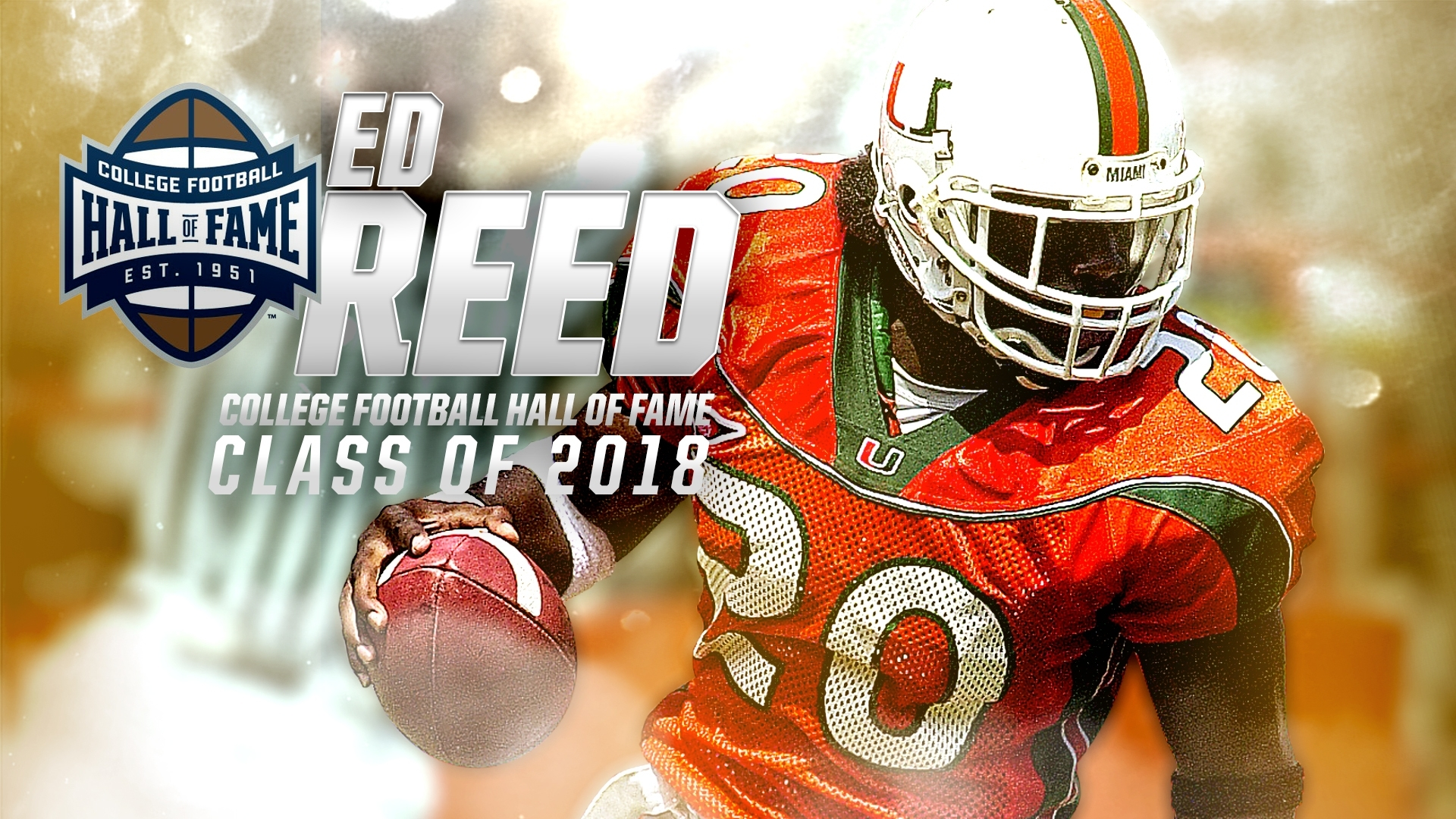 Ed Reed Selected To College Football Hall Of Fame in Miami Hurricanes With Super Bowl Rings