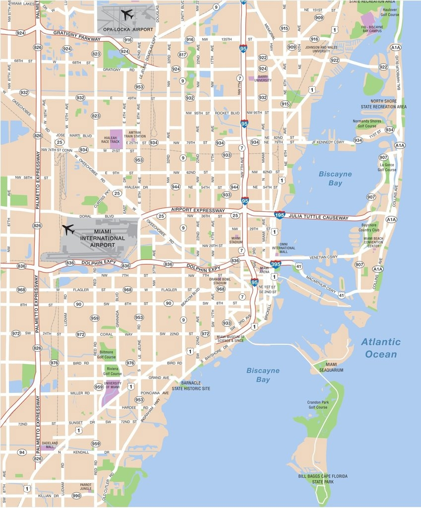 Large Miami Maps For Free Download And Print | High throughout Miami Beach Map Attractions