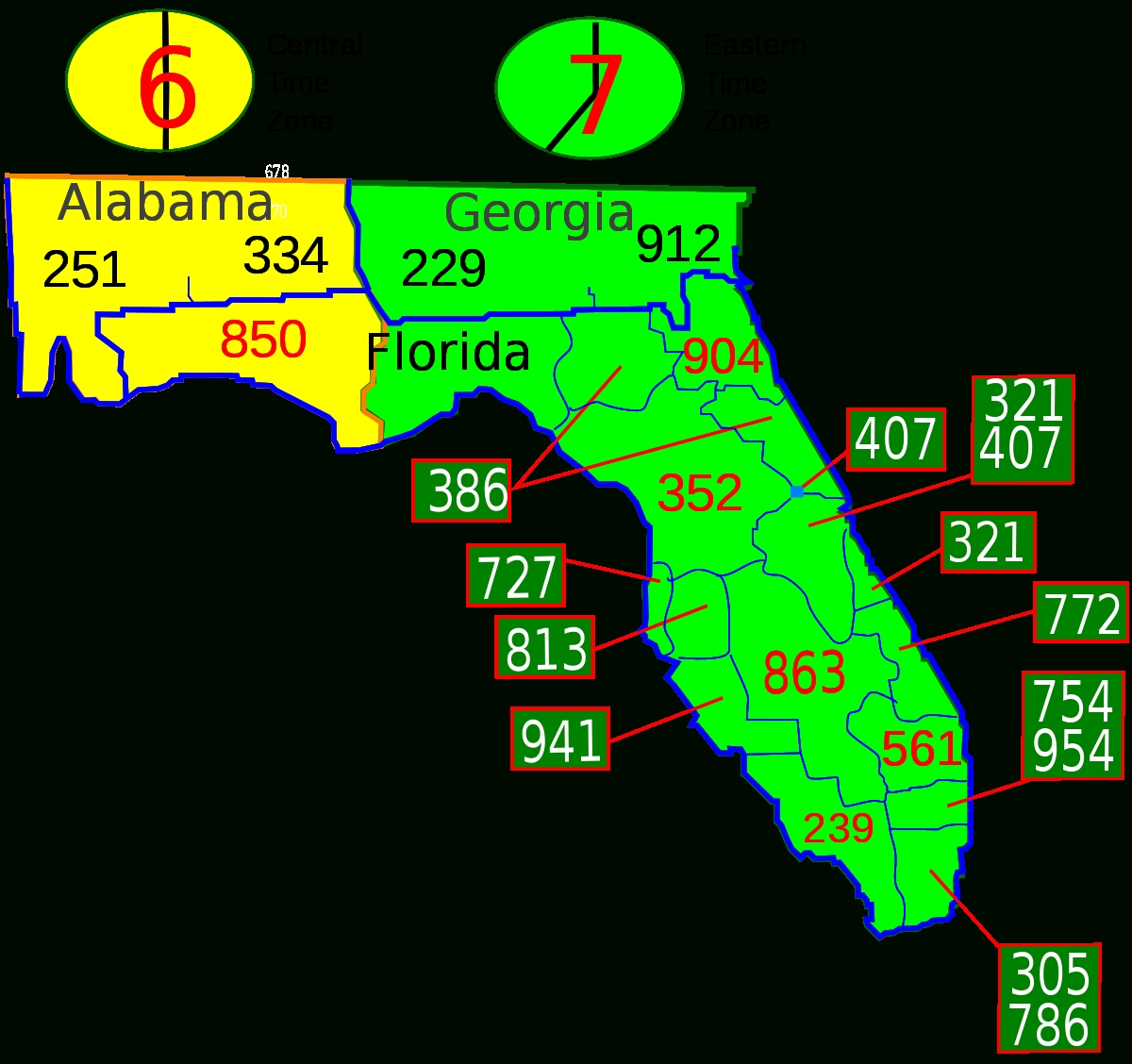 List Of Florida Area Codes - Wikipedia within Miami Beach Florida Zip Code Map