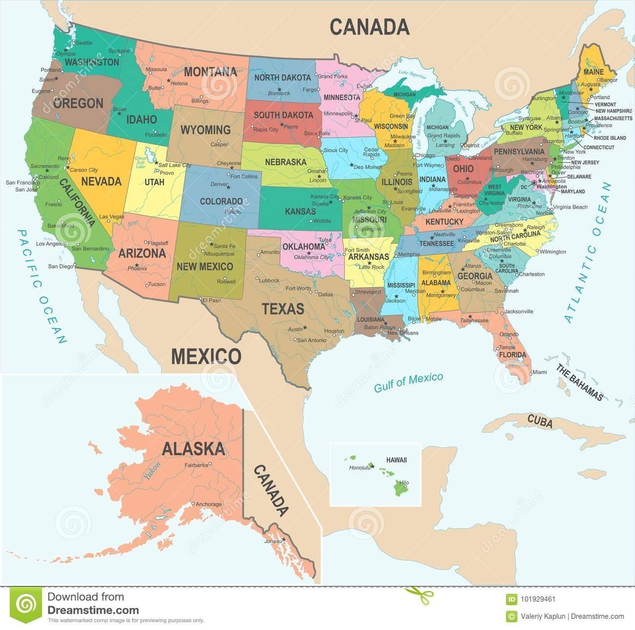 Mapa Do Estados Unidos - Ilustração Do Vetor Ilustração in Miami No Mapa Dos Eua