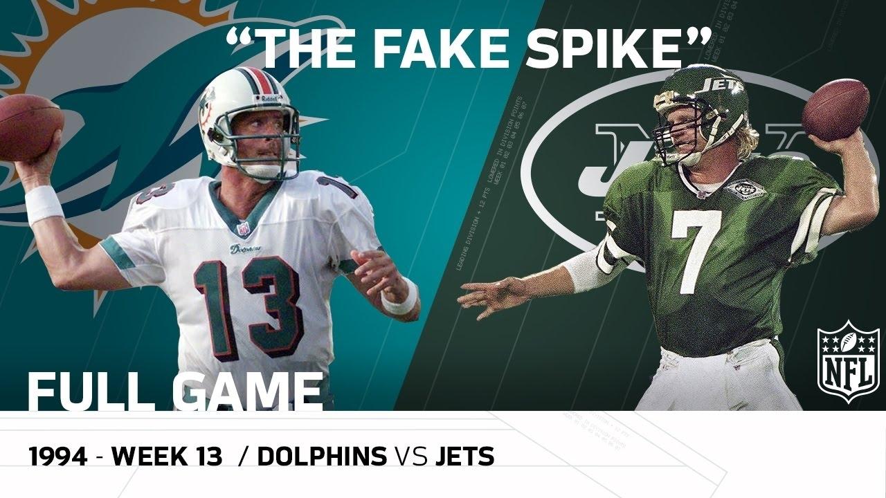 """marino Fake Spike"" Miami Dolphins Vs. New York Jets (Week 13, 1994) | Nfl  Full Game with Miami Super Bowl Marino"