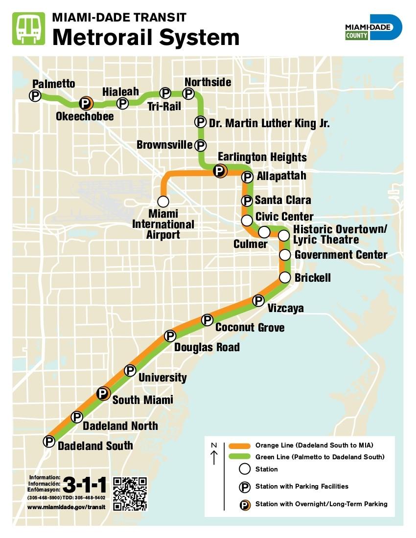 Metrorail : Miami U-Bahn-Karte , Vereinigte Staaten within Miami Dade Transit Metromover Map
