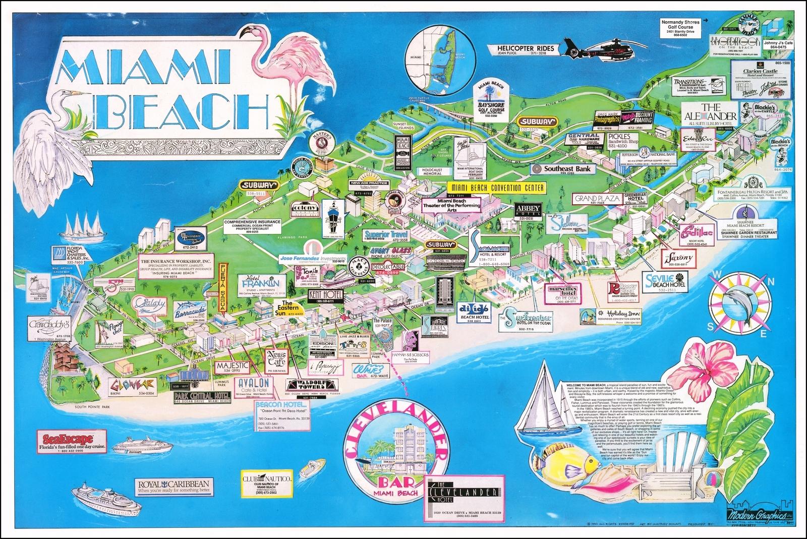 Miami Beach - Barry Lawrence Ruderman Antique Maps Inc. regarding Map Of Miami Beach Area
