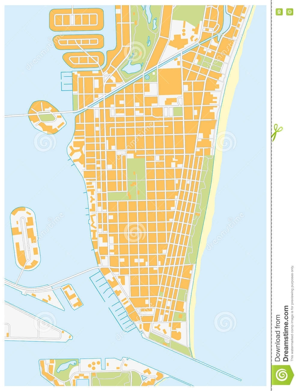 Miami Beach-Straßenkarte, Florida Stock Abbildung for Miami Beach On Map