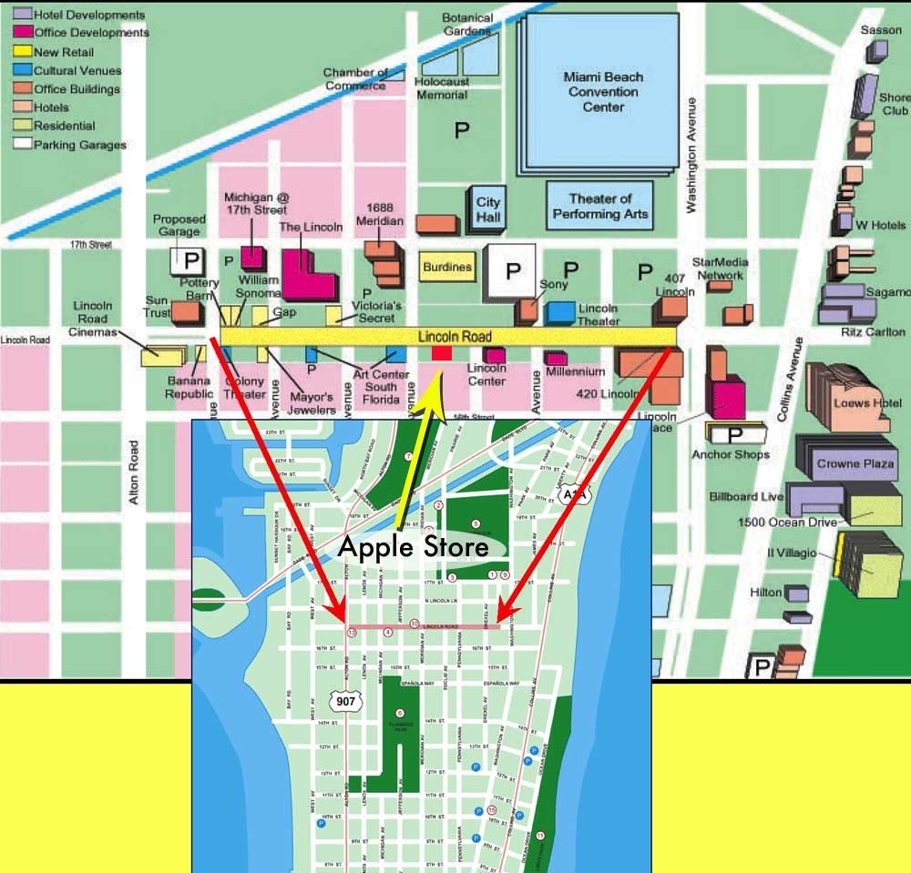 Miami Beach Tourist Map - Near Miami Beach Convention Center regarding Miami Beach Restaurant Map