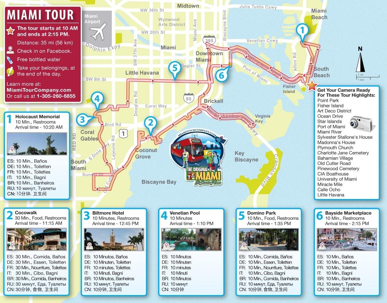 Miami Bus Tour Map - Miami Beach 411 Travel Store intended for Mapa Miami Para Orlando