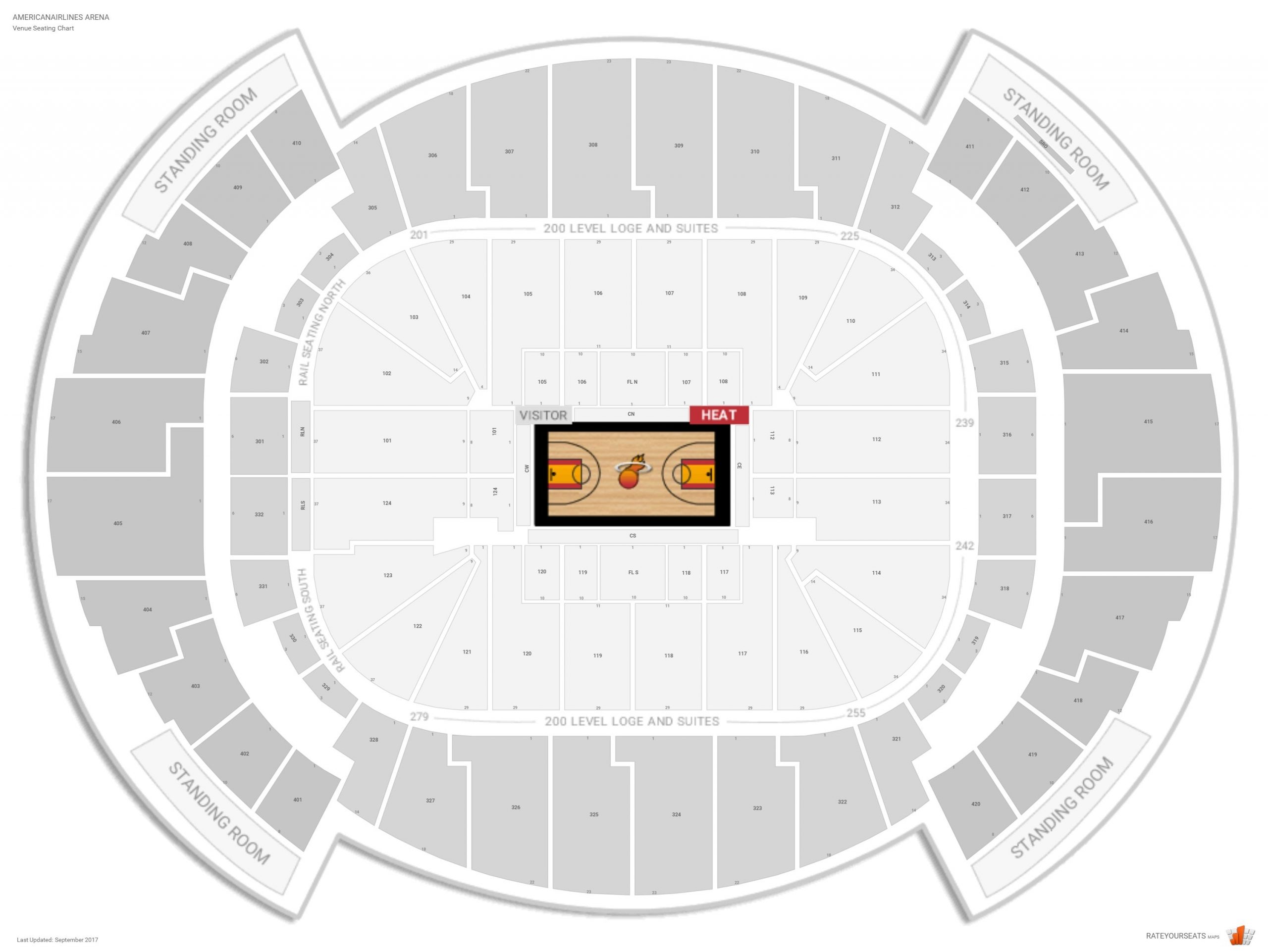 Miami Heat Arena Seating Chart With Seat Numbers - Marta for Miami Heat Stadium Seat Map