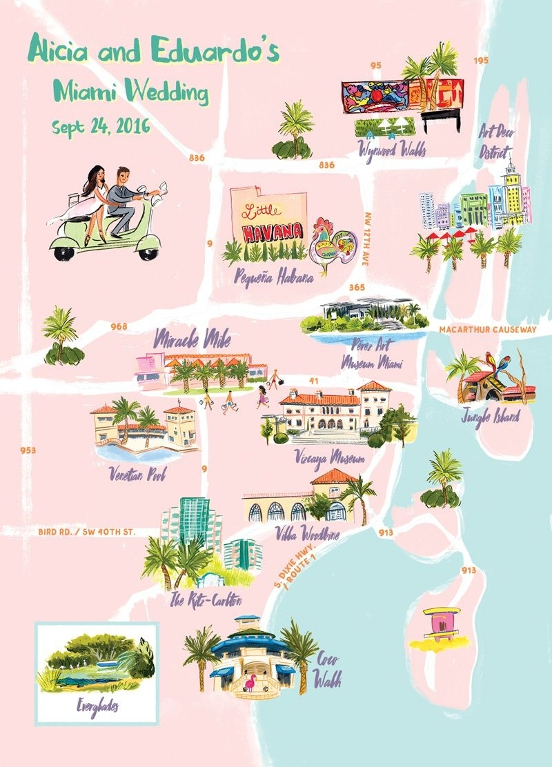 Miami Map Illustratedlaura Shema For Jolly Edition inside South Beach Miami Walking Map