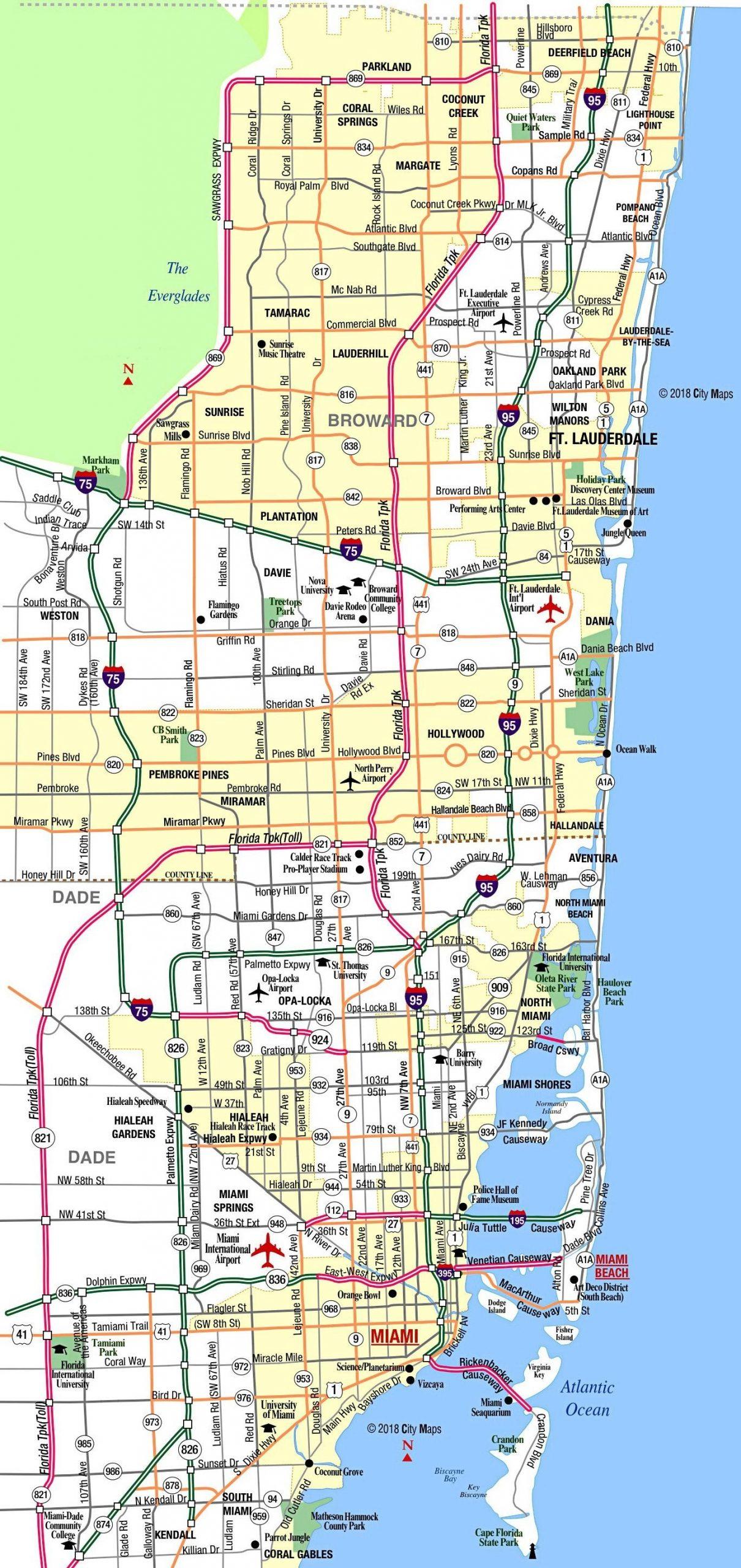 Miami Metropolitan Area Highways - Aaccessmaps for Mapa Miami Beach Florida