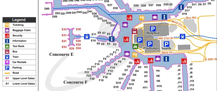 Miami - Miami International (Mia) Airport Terminal Map within Miami Airport Location Map
