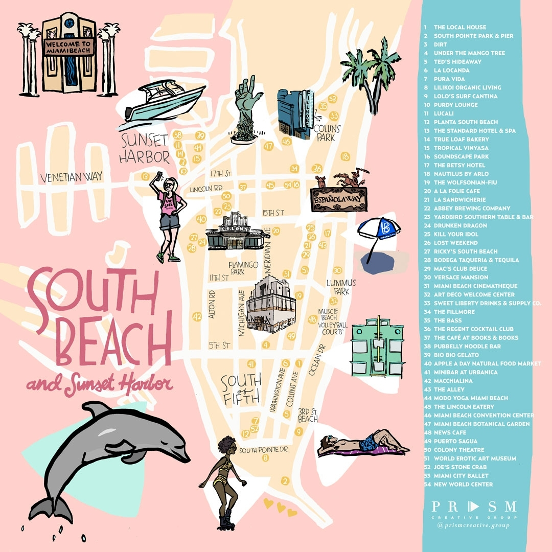 Miami Neighborhood Map: South Beach & Sunset Harbor pertaining to Miami South Beach Mapa