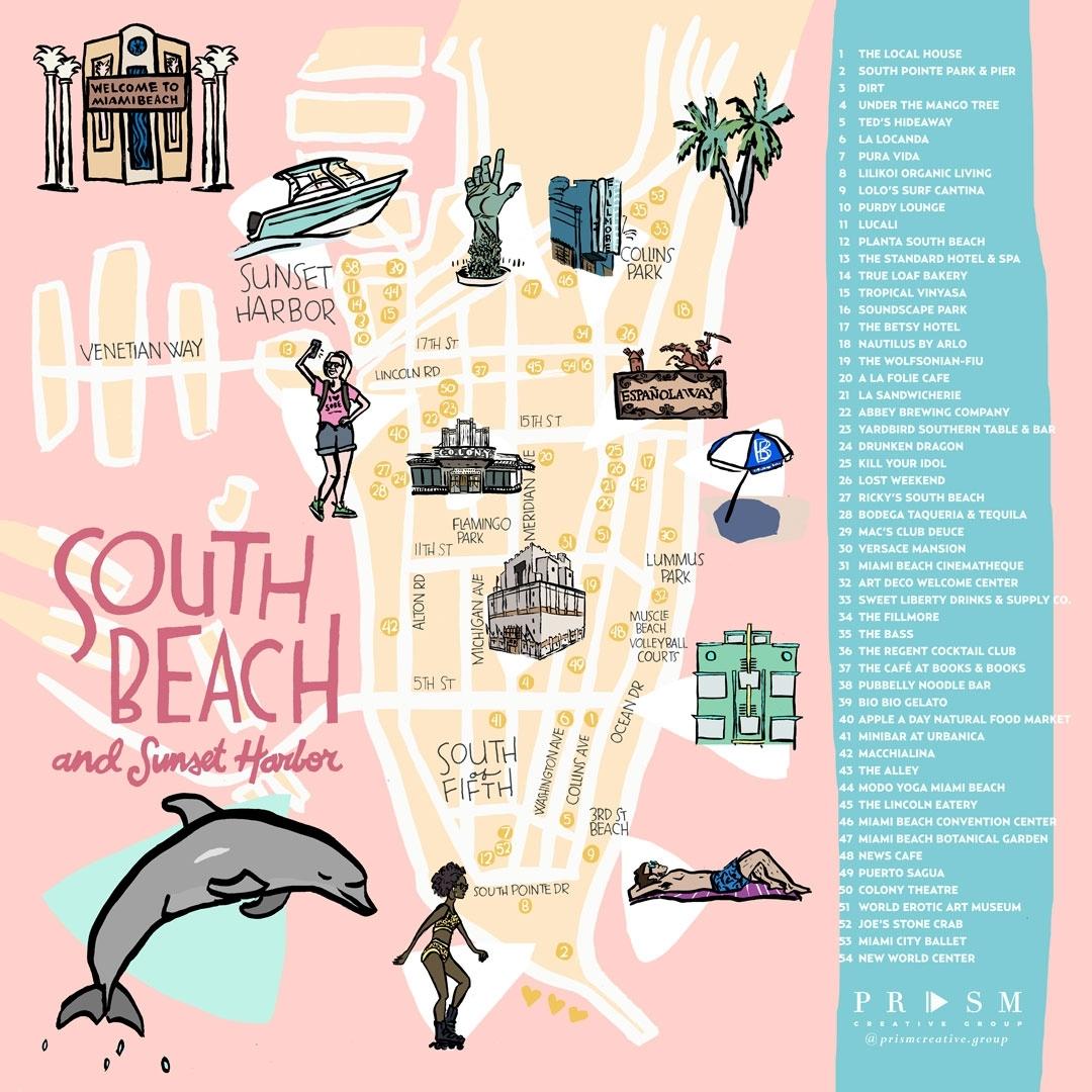 Miami Neighborhood Map: South Beach & Sunset Harbor pertaining to Miami South Beach Mapa
