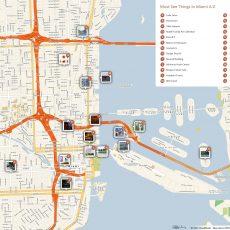Miami Printable Tourist Map | Miami Attractions, Tourist Map with Miami Beach Map Attractions