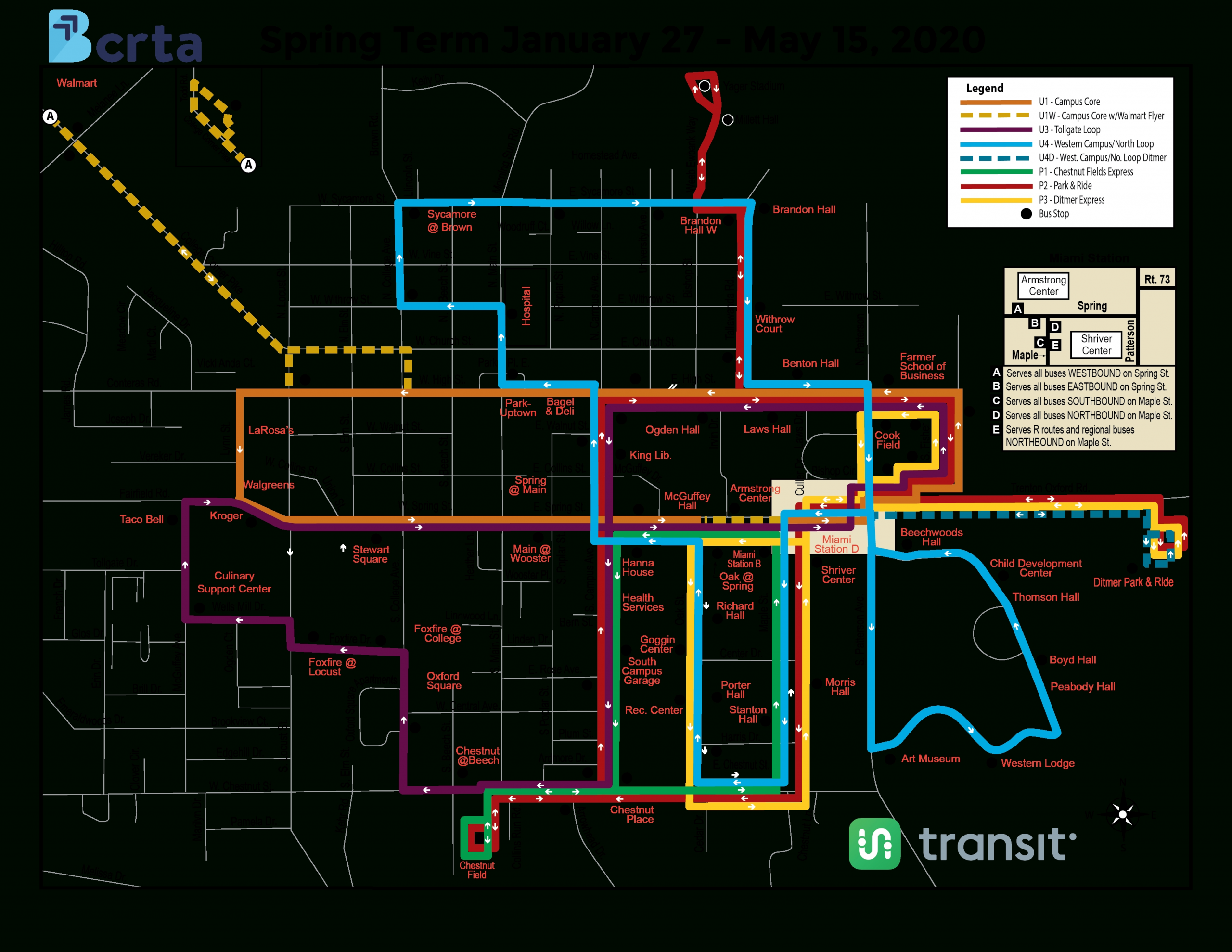 Miami University - Butler County Regional Transit Authority inside Miami Beach Public Transportation Map