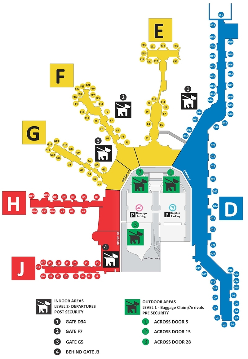 Service Animal / Pet Relief Areas - Miami International Airport inside Miami Airport Directory Map