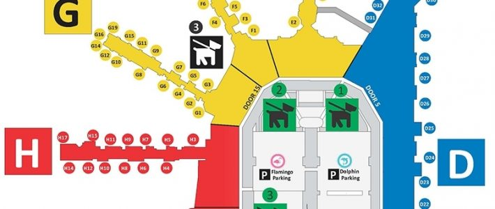 Service Animal / Pet Relief Areas - Miami International Airport inside Miami Airport Terminal D Map
