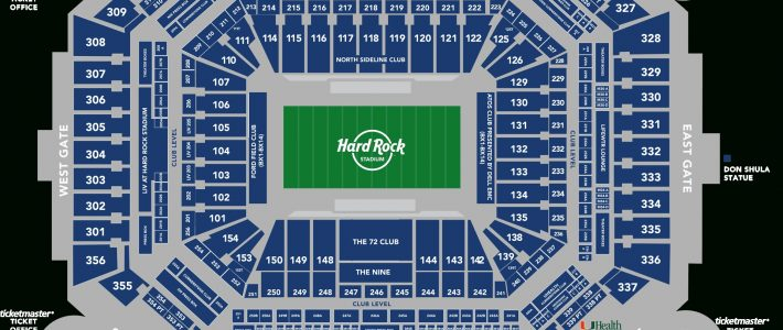 Stadium Seating Chart - Hard Rock Stadium with Miami Hard Rock Stadium Map
