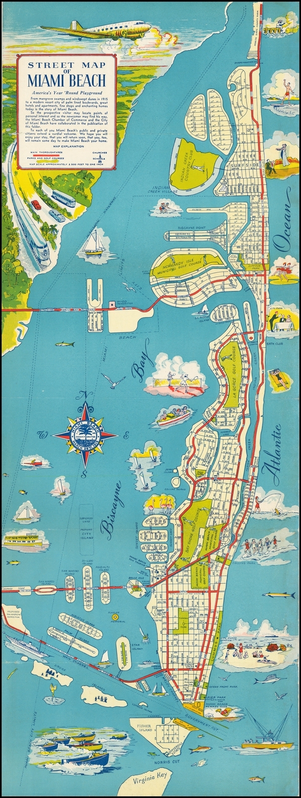Street Map Of Miami Beach America's Year Round Playground inside Miami Beach Golf Club Course Map
