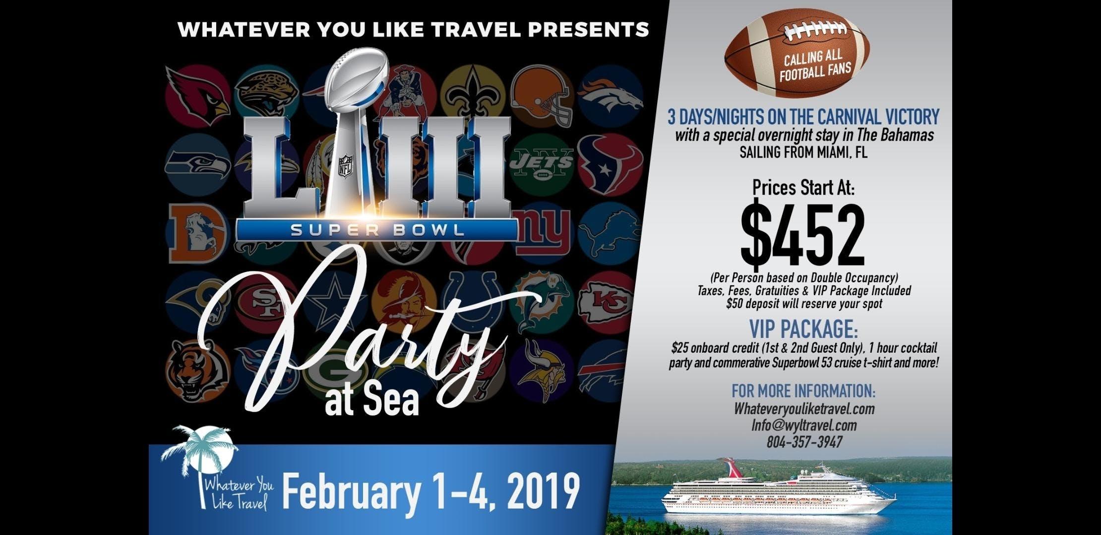 Superbowl Party At Sea, Miami Fl - Feb 1, 2019 - 4:00 Pm with Miami Super Bowl Cruise
