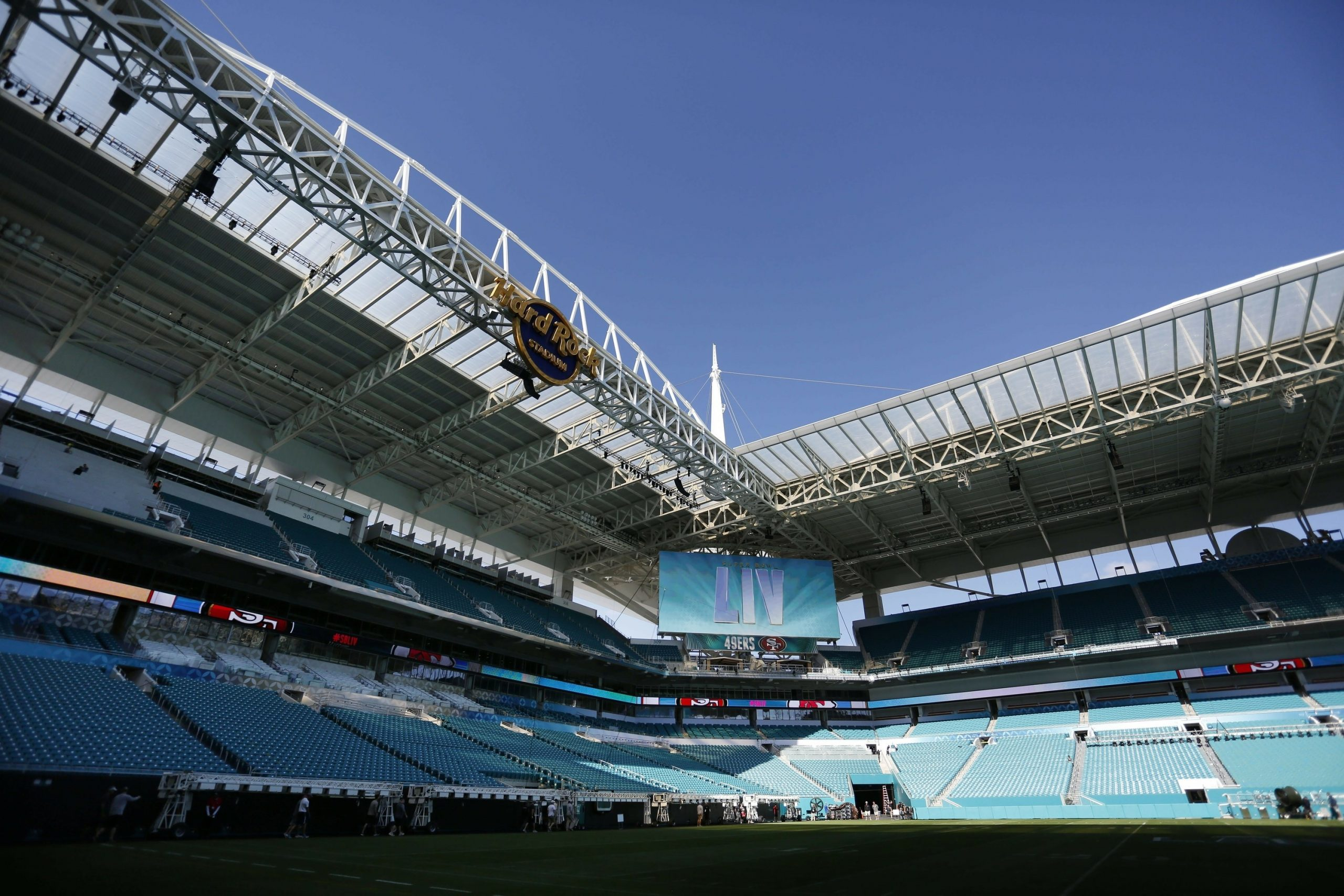 Thousands Of Workers Preparing Miami Stadium For Super Bowl with Super Bowl Miami Stadium
