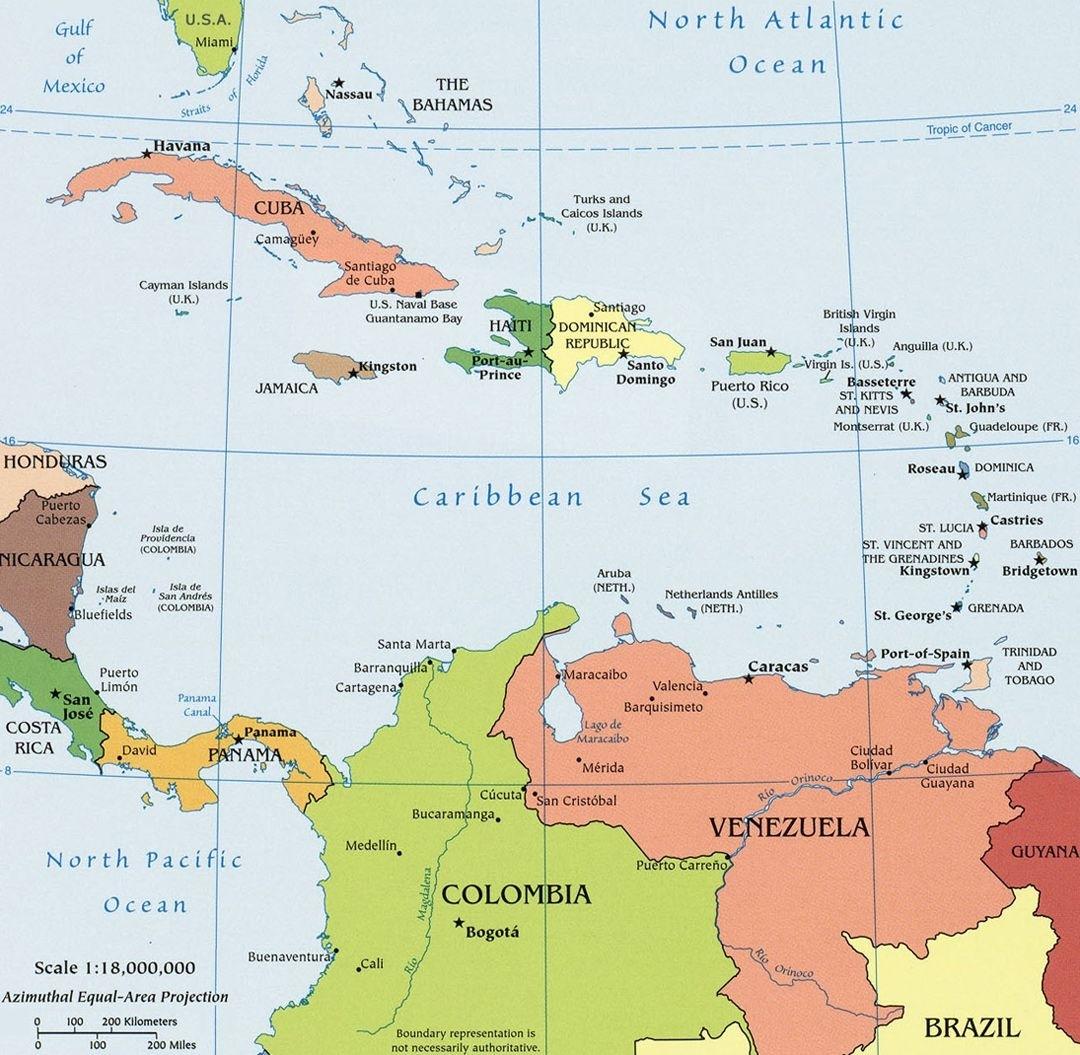 """Ubicacion De Puerto Rico En El Caribe - """"mapa Político with Mapa Miami Y Caribe"""