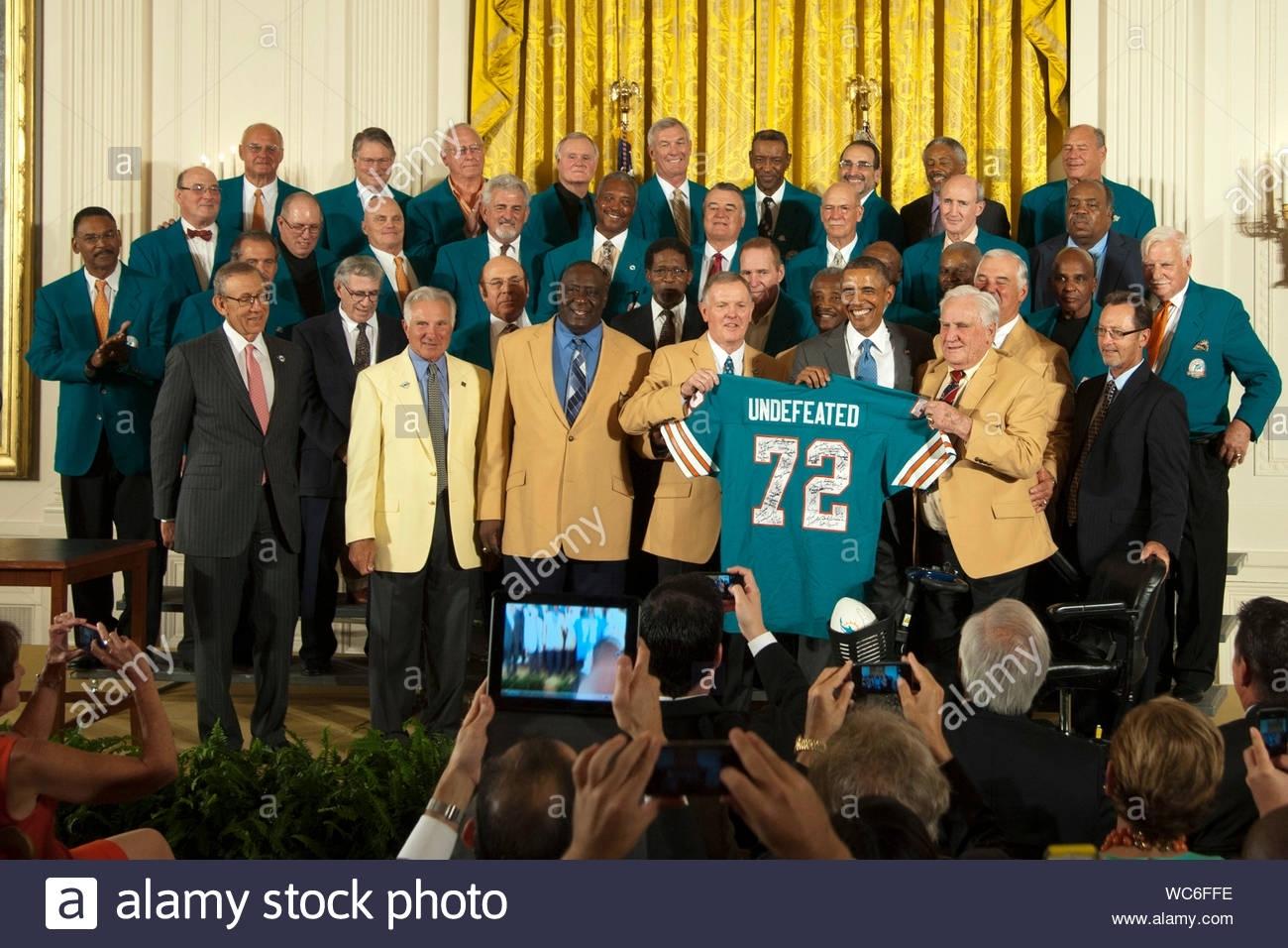 Washington, Dc - President Obama Welcomes The 1972 Miami inside Miami Dolphins Undefeated Season Super Bowl
