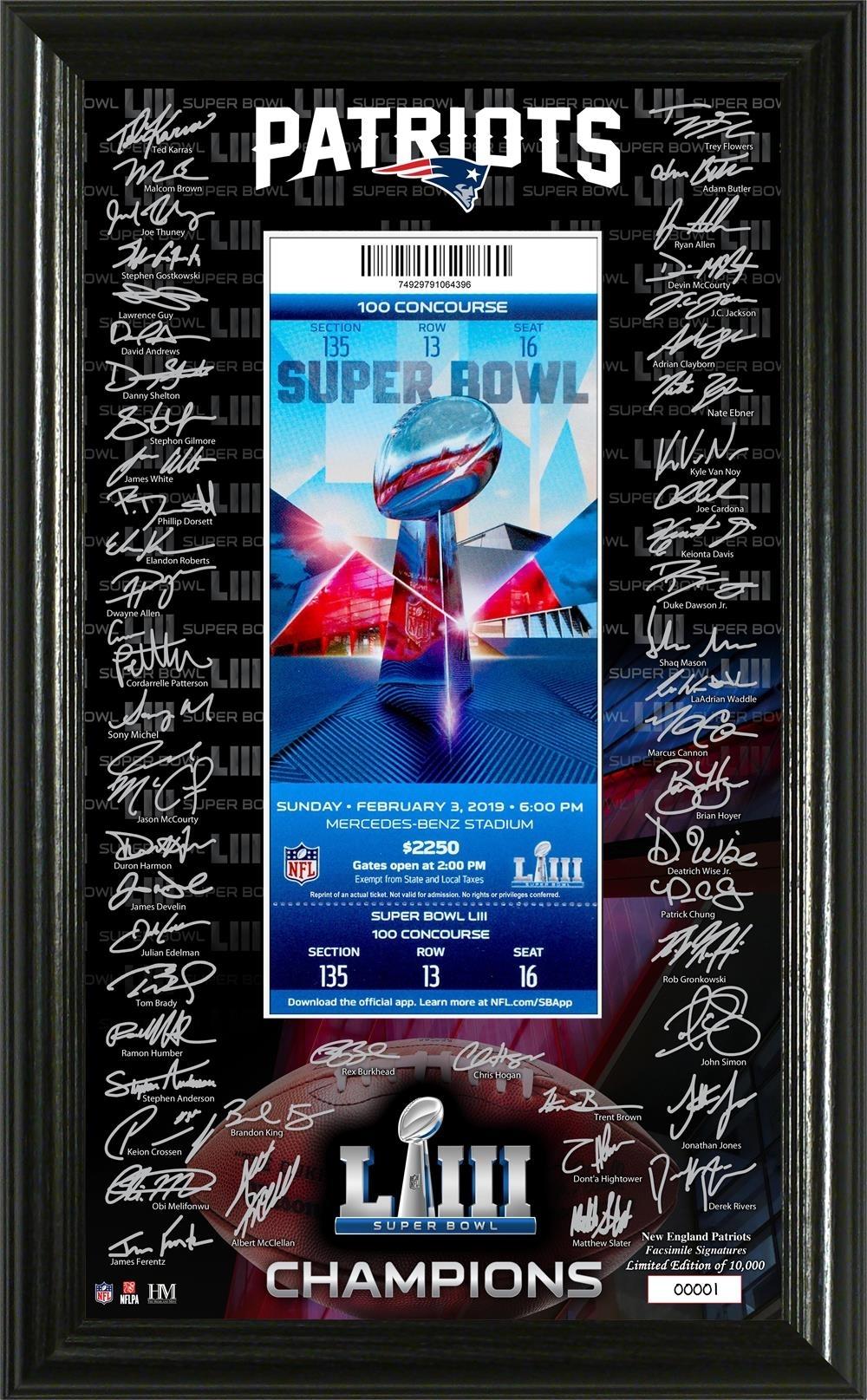 New England Patriots Super Bowl 53 Champions Signature Ticket with regard to Miami Super Bowl Ticket Prices