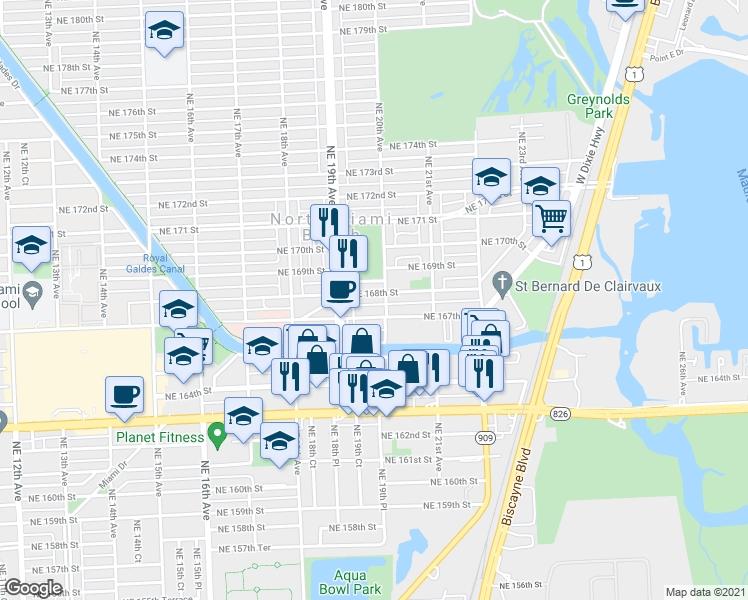 1980 Northeast 168Th Street, North Miami Beach Fl - Walk Score with regard to City Of Miami Beach Map