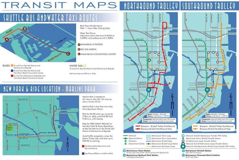 2013 Miami International Boat Show Transit Map | Escape pertaining to Miami Bus Terminal Map
