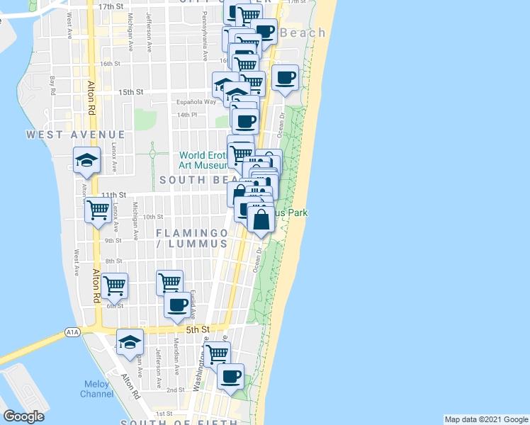 599 Ocean Drive, Miami Beach Fl - Walk Score within Miami Safe Areas Map