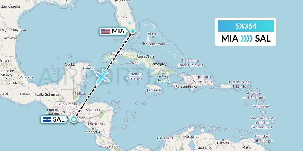 5X364 Flight Status Ups Airlines: Miami To San Salvador intended for Miami International Airport Departures Map