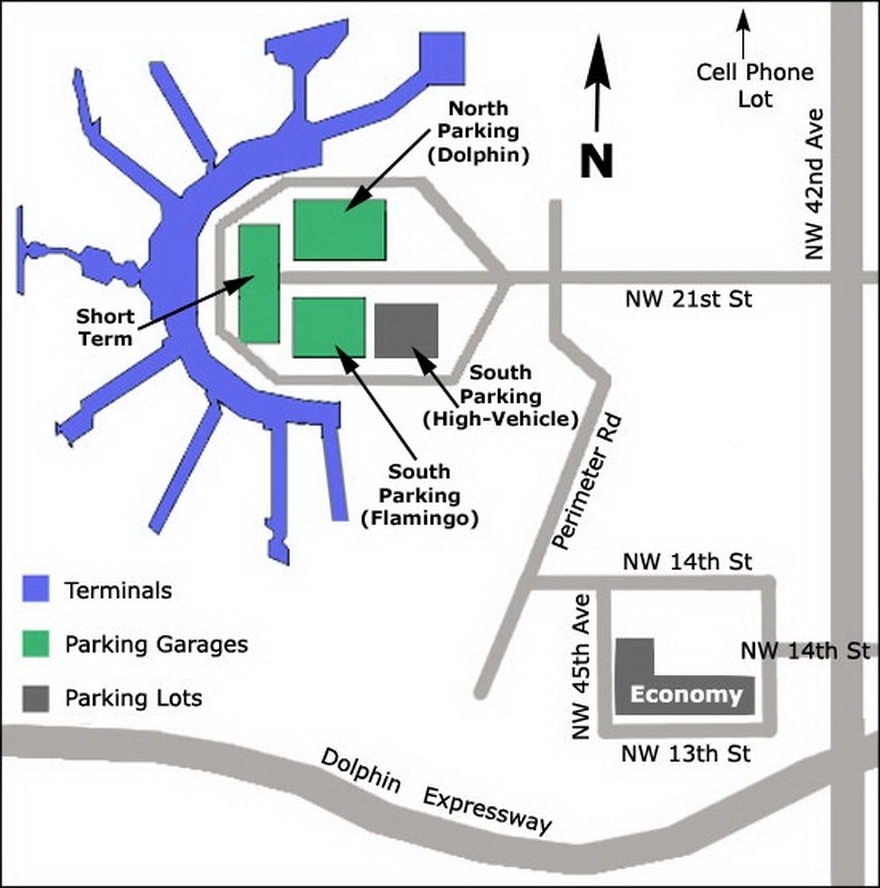 Airport Parking Map - Miami-Airport-Parking-Map pertaining to Miami Intl Airport Map