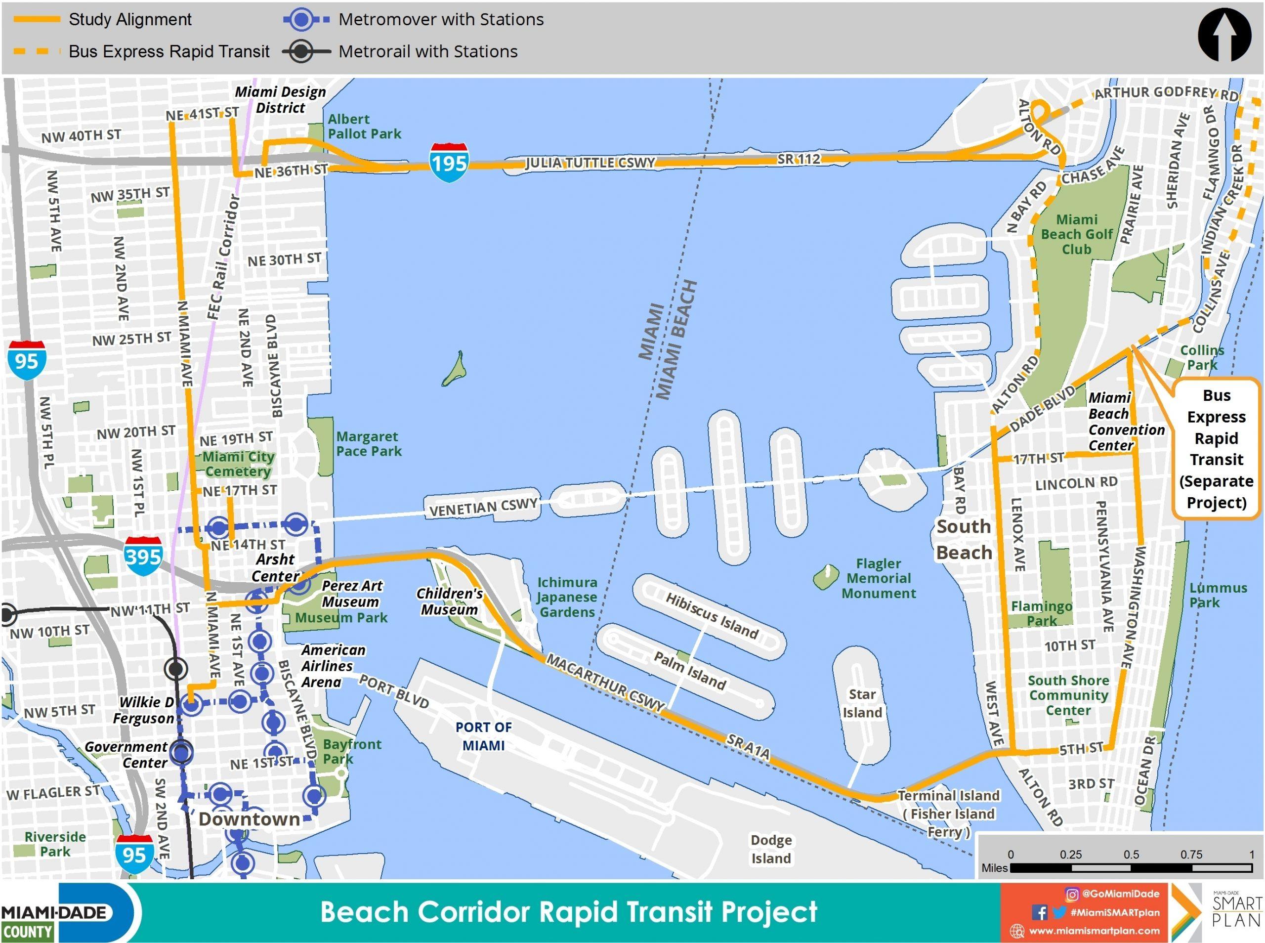 Beach Corridor - Miami-Dade County in Miami Dade Bus Route Map
