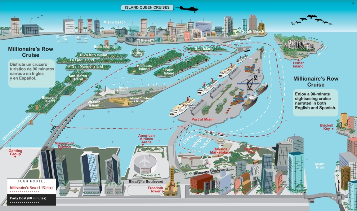 Best Dance & Party Cruises In Miami | Island Queen Cruises within Miami Beach Walking Tour Map