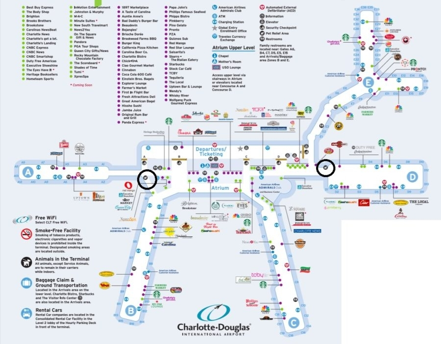 Charlotte Douglas International Airport (Clt) Pet Relief within Miami Airport Arrivals Map