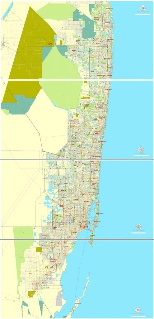 City Map Miami Vector Urban Plan Adobe Illustrator with regard to Miami Florida City Map