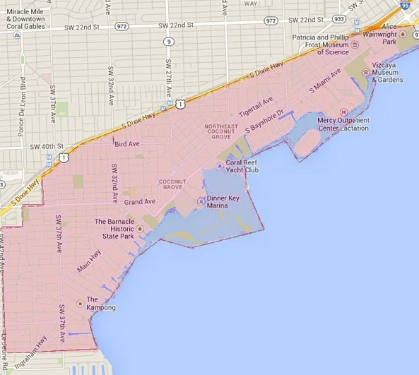 Coconut Grove, Fl, Homes For Sale, Maps, Trees, Boats pertaining to Coconut Grove Miami Beach Map