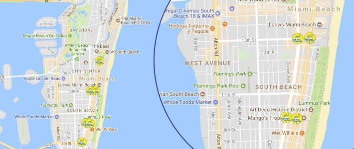 Detailed Map Of South Beach Miami in Map Of South Beach Miami
