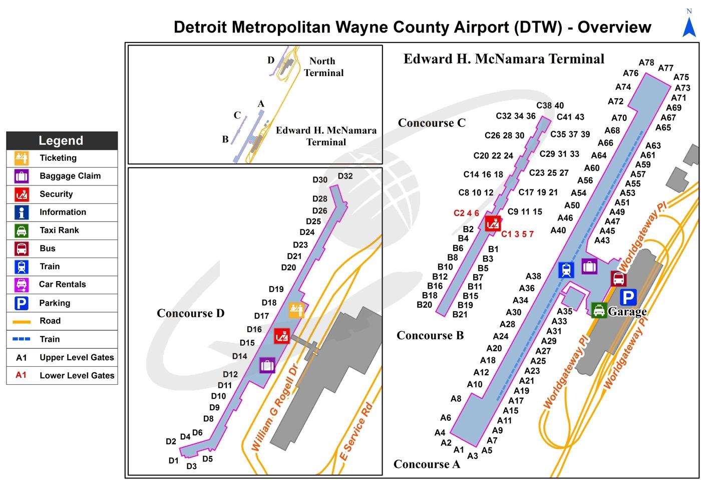 Detroit Metro (Dtw) International Airport | Michigan in Miami Airport Map American Airlines Terminal