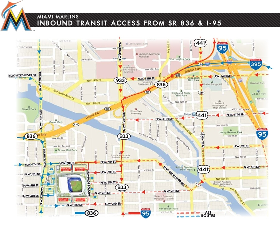 Driving Directions To Marlins Park   Marlins: Ballpark within Mapa Trolley Miami Beach