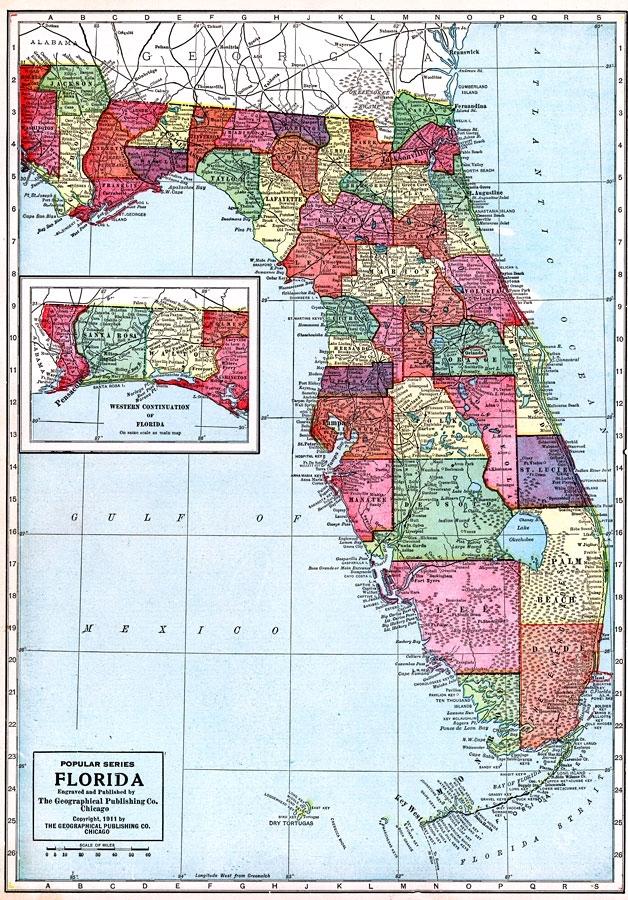 Florida, 1911 for Miami Beach Gis Map