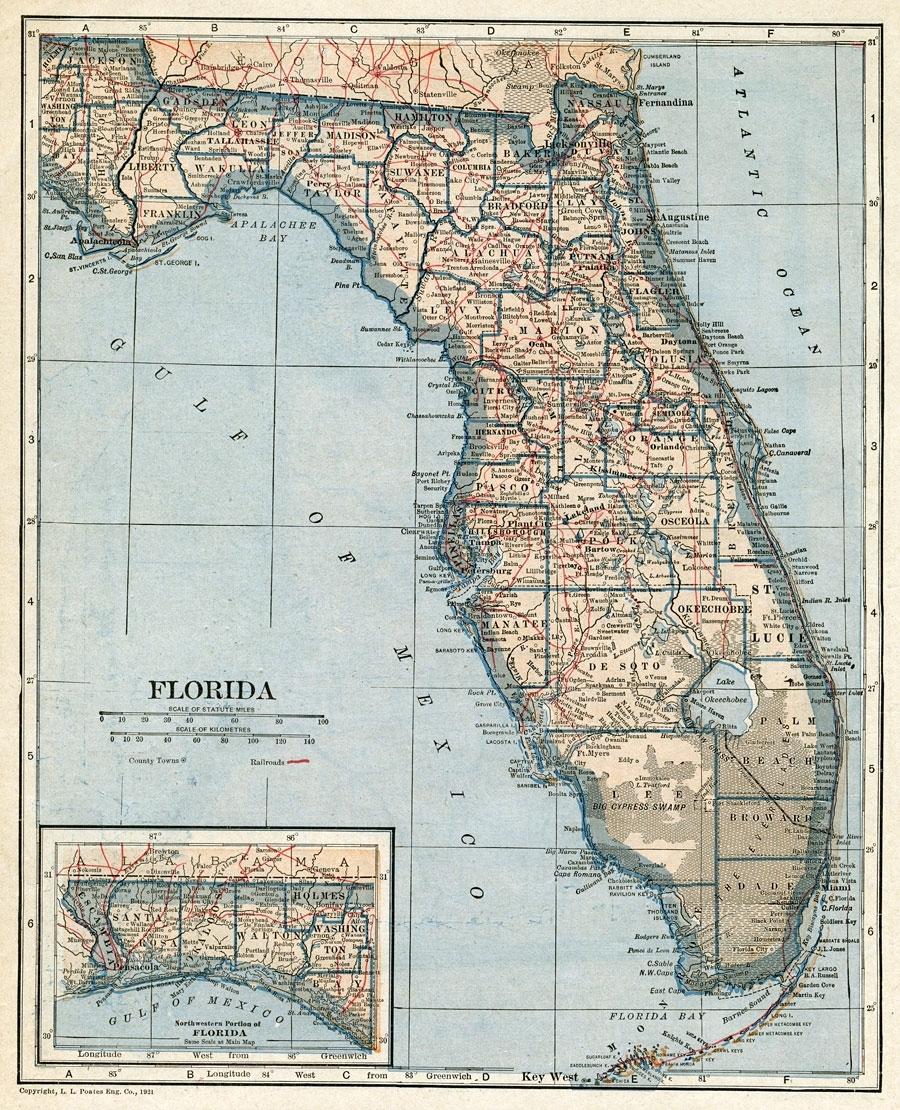 Florida, 1921 for Miami Florida State Map